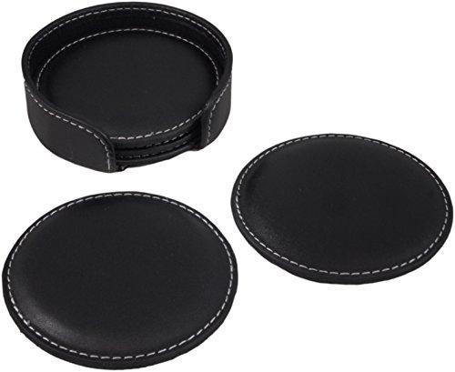 PU Dark Leather Drink Coasters, Set of 4 Black PU Leather