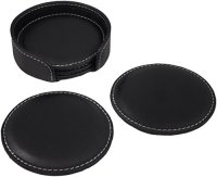 PU Dark Leather Drink Coasters, Set of 4 Black PU Leather