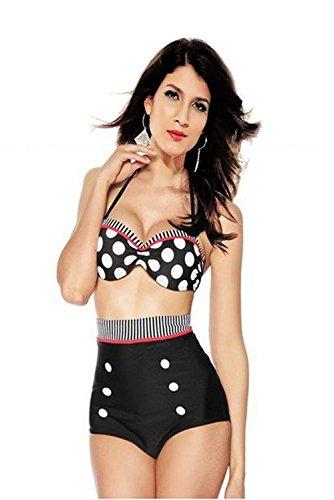 Selene Allure Women's Pinup Rockabilly Vintage High Waist Bikini Swimsuit Swimwear