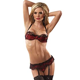 SeXy Lace Bra Thong Panty Garter Belt 3 Pc Set S M or L