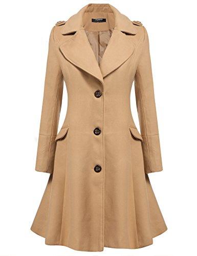 Zeagoo Damen Winter Revers Wolle Mantel Lang Swing Coat Jacke