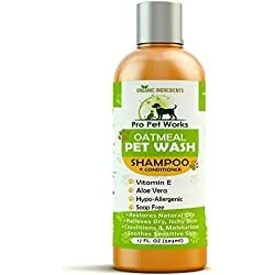 Pro Pet Works Natural Organic Oatmeal Pet Wash Dog Shampoo+Conditioner with Aloe Vera-Medicated & Vet Recommended Anti-Itch Formula for Allergies & Sensitive Itchy Skin 17oz