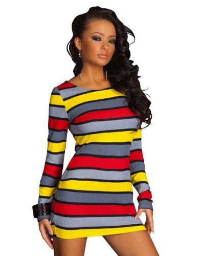 Langarm MiniKleid Kleid Multicolor Buntes Streifenmuster S/M 36 38