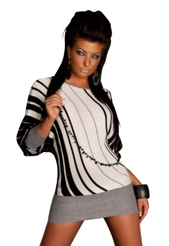 Sexy Damen Fledermaus Minikleid Schwarz Weiss gestreift aus feinem Strick Grau Gr 34 36