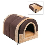 Brown Portable Soft Sided Plush Pillowed Indoor Small Dog ...