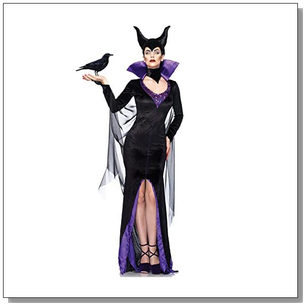 Leg Avenue Disney 3Pc.Maleficent Dress Stay Up Collar and Head Piece, Black, Large