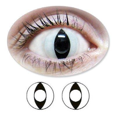 Weisse Motivlinsen BIONORA Farbige Kontaktlinsen Katzenaugen weiß Jahreslinsen inklusive Behälter