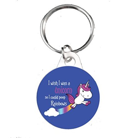 I Wish I Was A Unicorn So I Could Poop Rainbows 25mm Button Keyring