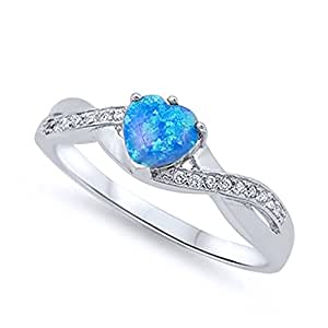 Amazon.com: Sterling Silver Heart Blue Simulated Opal
