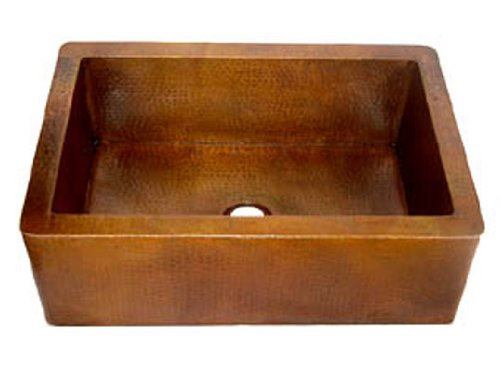 Discount Copper Farmhouse Sinks Classic Farmhouse Apron Copper Sink – Light Brown