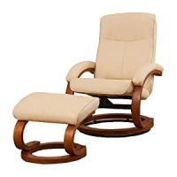 1 Seat Leather Swivel Recliner + Footstool Black, Brown or ...