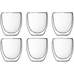 Bodum Pavina -Set de 6 vasos térmicos,, 25 cl, cristal borosilicato, transparentes