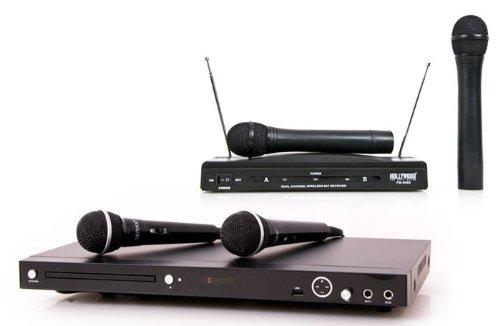 Karaoke Set Partyanlage DVD-Player USB MP3 JPEG WMA Funkmikrofon System DJ-715