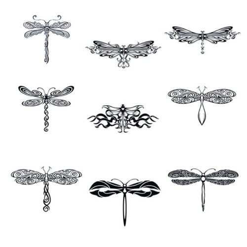 Collection of Nine 2.5 x 3.5 Tribal Dragonfly Temporary Tattoos