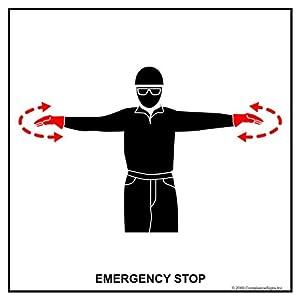Amazon.com : Emergency Stop Label CRANE-410 Crane Hand