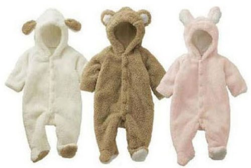 【ノーブランド】もこもこ! ラブリー ベビー カバーオール アニマル ロンパース 新生児 ~ 6ヶ月 70cm 赤ちゃん 動物 着ぐるみ くま うさぎ ひつじ (くま)