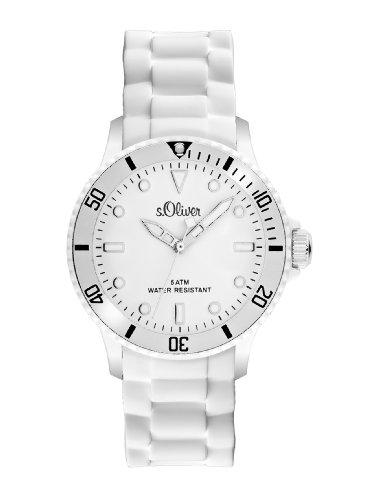 s.Oliver Unisex-Armbanduhr Medium Size Silikon weiß SO-2291-PQ