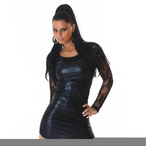 Kleid Minikleid Leder-Latex-Look Einheitsgröße (32-38) verschiedene Farben