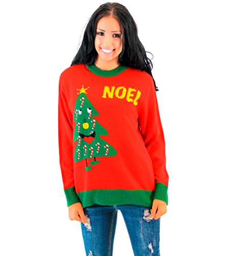 Noel Light Up Smiling Christmas Tree Adult Red Ugly Christmas Sweater