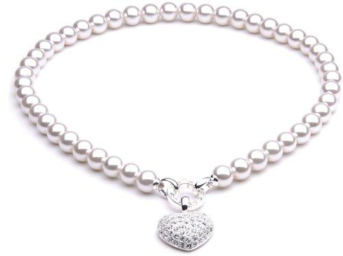 CBCreation Perlenkette wei ca 45 cm mit Herz versilbert
