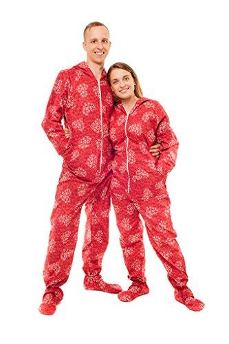 Schneeflocken und Herzen Kajamaz: Schlafanzug/ Schlafoverall/ Strampler mit Füßlingen für Erwachsene