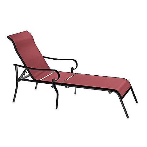Indoor Outdoor Oversized Adjustable Sling Chaise Reclining Patio Lounge Chair Red