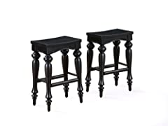Powell Pennfield Distressed-Black Kitchen-Island Stools (set of 2)
