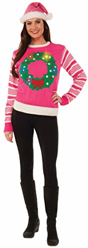 Pink Christmas Wreath Light Up Sweater 75825