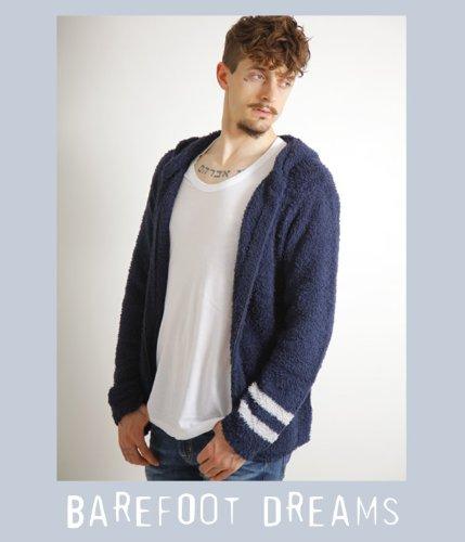 BAREFOOT DREAMS(ベアフット ドリームス)【男性サイズ】mens zip hoodie with stripe( メンズ フーディ パーカー)