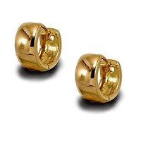 Mens or Womens Small Plain Gold Huggie Hoop Earrings 9ct ...