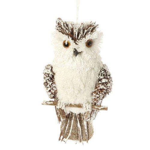 Brown & White Sisal Owl Christmas Ornament