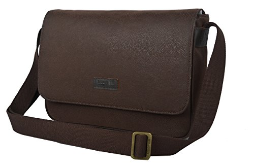 Messenger Bag in Dark Brown Vegan Leather
