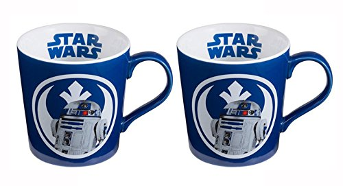 Vandor Set of 2 Disney Star Wars, Blue And White 12oz Ceramic R2D2 Mugs,