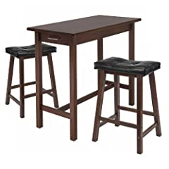 Winsome Kitchen Island Table with 2 Cushion Saddle Seat Stools, 3-Piece