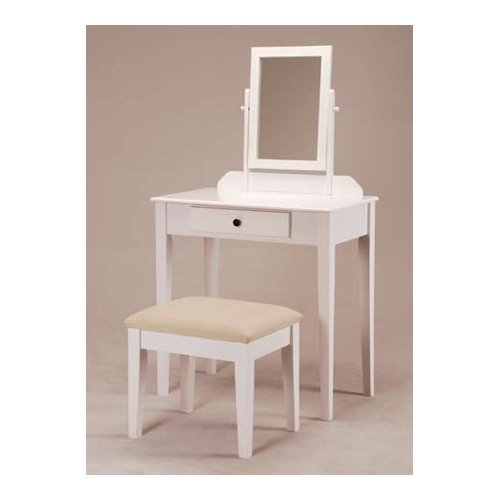 Amazoncom  White Bedroom Vanity Table with Tilt Mirror