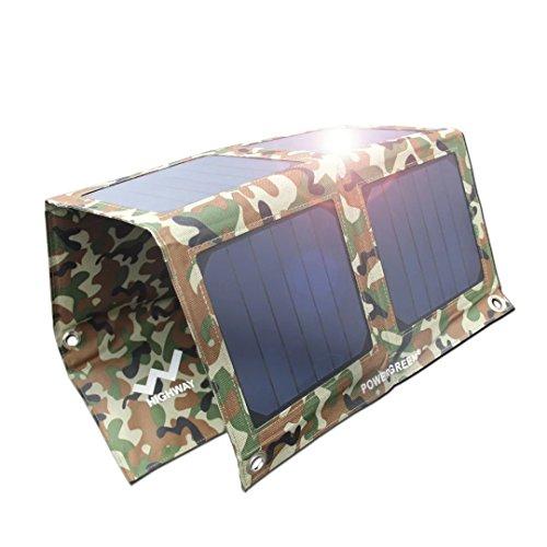PowerGreen® 21W ソーラーチャージャー/パネル 2usbポート 防水 iPhone iPad等パワーバンク アウトドア