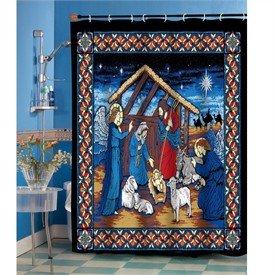 Amazoncom  Silent Night Christmas Shower Curtain Holy
