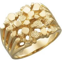 14k Yellow Gold Nugget Ring, Sizes 5 to 19