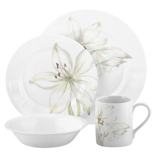 Corelle Impressions White Flower 16-Piece Dinnerware Set, Service for 4