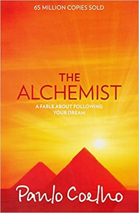 """The Alchemist - Paulo Coelho"" Book Cover - Sunset over pyramids"