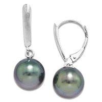 Amazon.com: Tahitian Black Pearl Earrings in 14K White ...