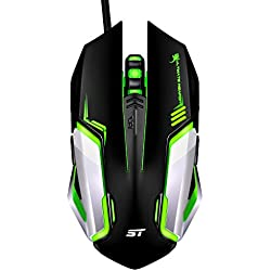 Gaming Mouse, SOWTECH Optical Ergonomic USB Wired Gaming Mice with 3200 DPI and 7 Shooting LED Colors for PC, Laptop, Desktop and Mac