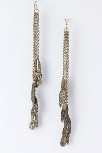 Leaf Chain Fringe Earrings in Antique Gold