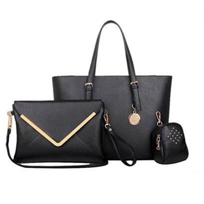 Fashion-road-Luxury-Womens-Satchel-Hobo-Tote-Handbag-Bag-Purse-Set-Black-3-Piece