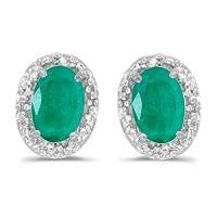 Amazon.com: 14k White Gold Oval Emerald And Diamond
