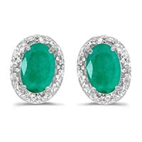 Amazon.com: 14k White Gold Oval Emerald And Diamond ...