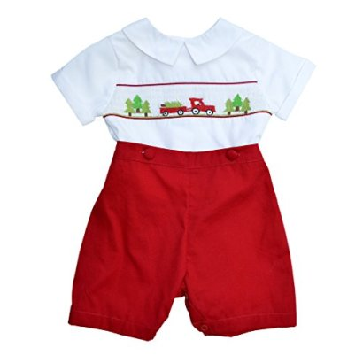 Baby-Boys-Hand-Smocked-2-Piece-Bobbie-Suit-Christmas-Scene-Holiday-2T