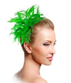 Bridal Feathered Ribbon Fascinator - M39 Emerald Green