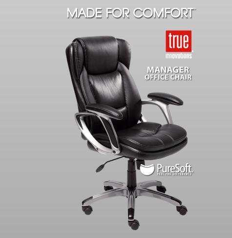 True Innovations Black Leather Manager Office Chair Black