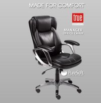 True Innovations Black Leather Manager Office Chair, Black ...
